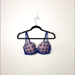 Betsey Johnson Intimates Blue & Beige Ribbon Print Bra Size 36D